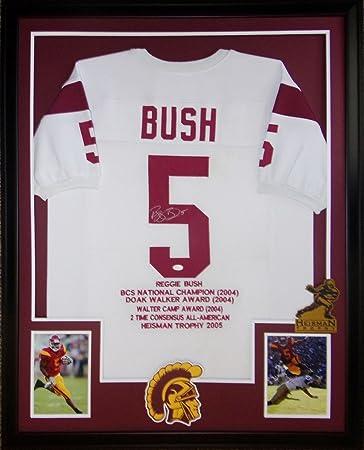c5a8a8f44 Reggie Bush USC Trojans Autograph Signed Custom Framed Stat Jersey JSA  Witnessed Certified