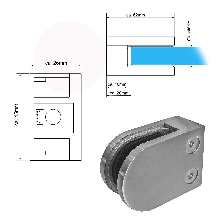 Modell:3177-44 rund-/Ø42.4mm 10mm Edelstahl V2A Glashalter Glasklemme Klemmhalter f Gel/änder rund//eckig MASSIV