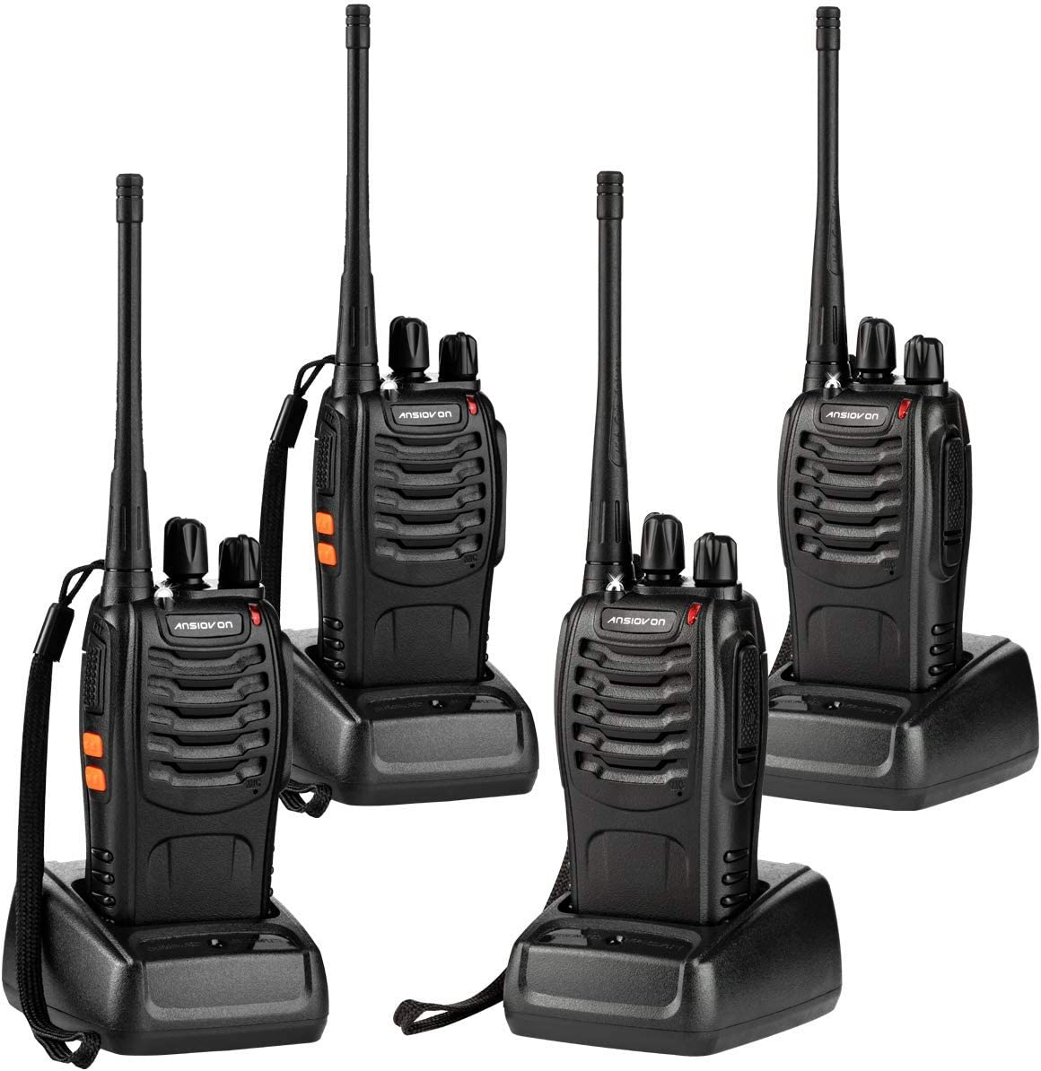 ANSIOVON Walkie Talkie-Rechargeable Long Range Two Way Radio-16 Channels-LED Flashlight -Earpiece-UHF 400-470Mhz-Professional Walky Talky-1500 Mah Rechargeable Li-ion Battery(Include)-4 Pack.