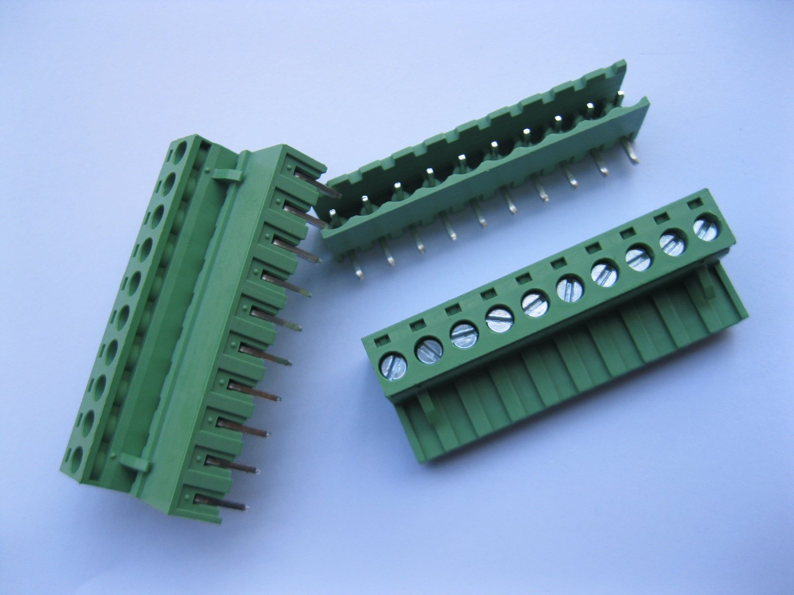 5 Pcs Pitch 5.08mm Angle 10way/pin Screw Terminal Block Connector w/ Angle-pin Green Color Pluggable Type Skywalking