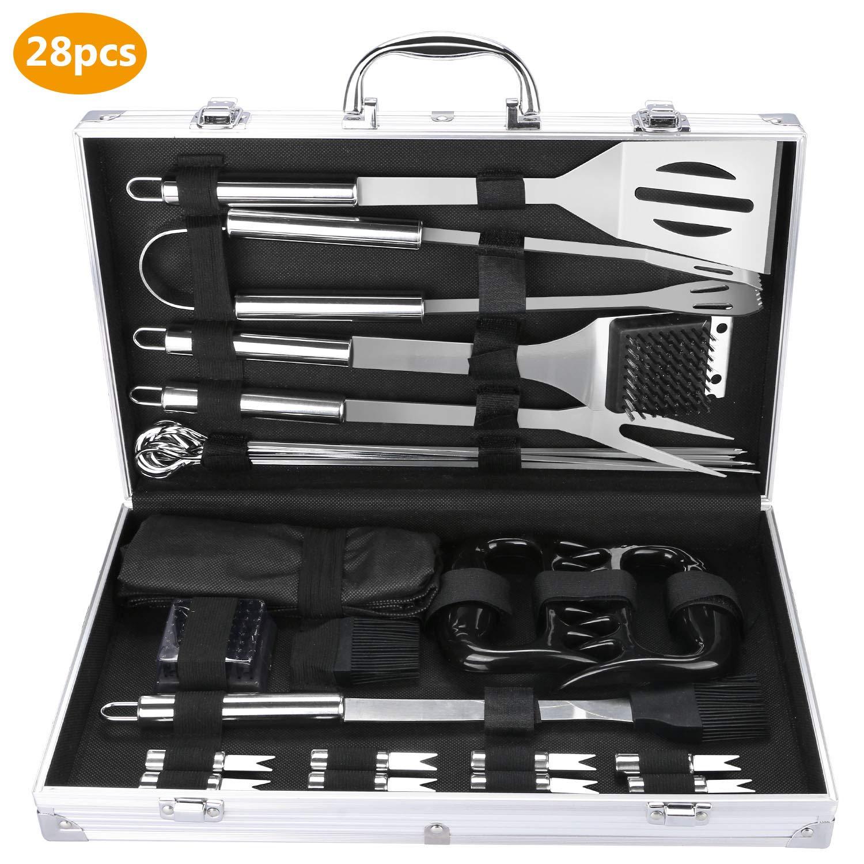 Fixget 28 PCS barbacoa herramienta, acero inoxidable barbacoa herramientas juegos utensilios de cocina set barbacoa parrilla herramientas kit ...
