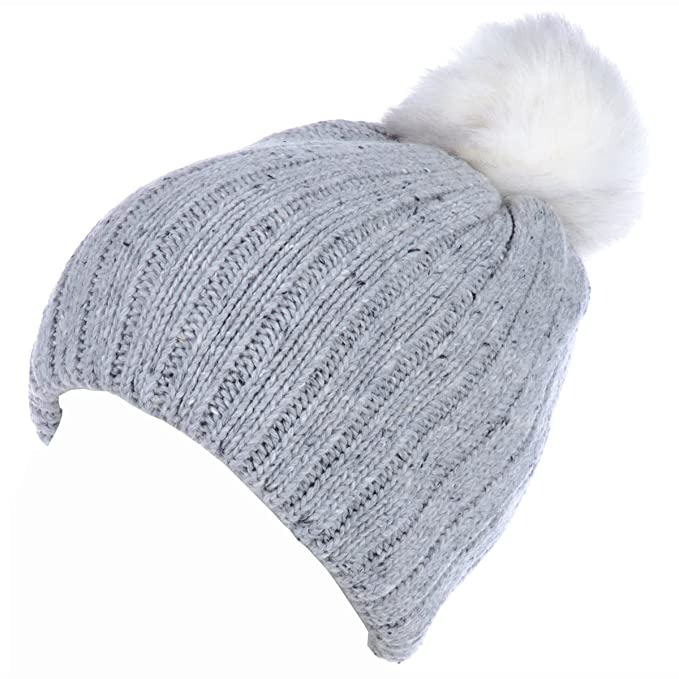 2ae2e74c9 BYOS Winter Warm Fleece Lined Chunky Ribbed Knit Beanie Hat W/White ...