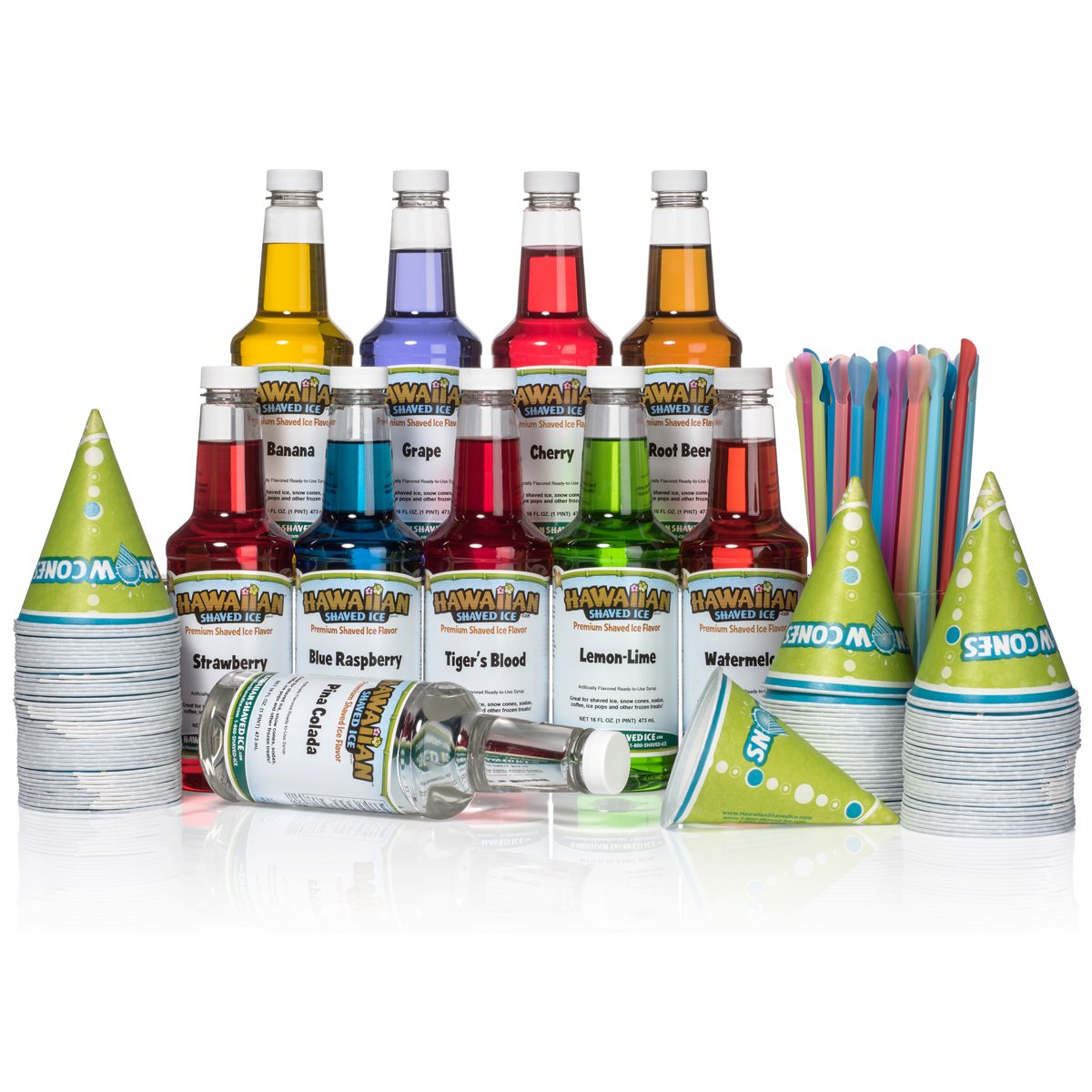 Hawaiian Shaved Ice 10 Flavor Fun Pack of Snow Cone Syrup, 10 pints | Kit Features 10 Snow Cone Syrup Flavors (16 oz. Each) & 10 black bottle pourers, 100 cups and 100 spoon straws by Hawaiian Shaved Ice (Image #1)