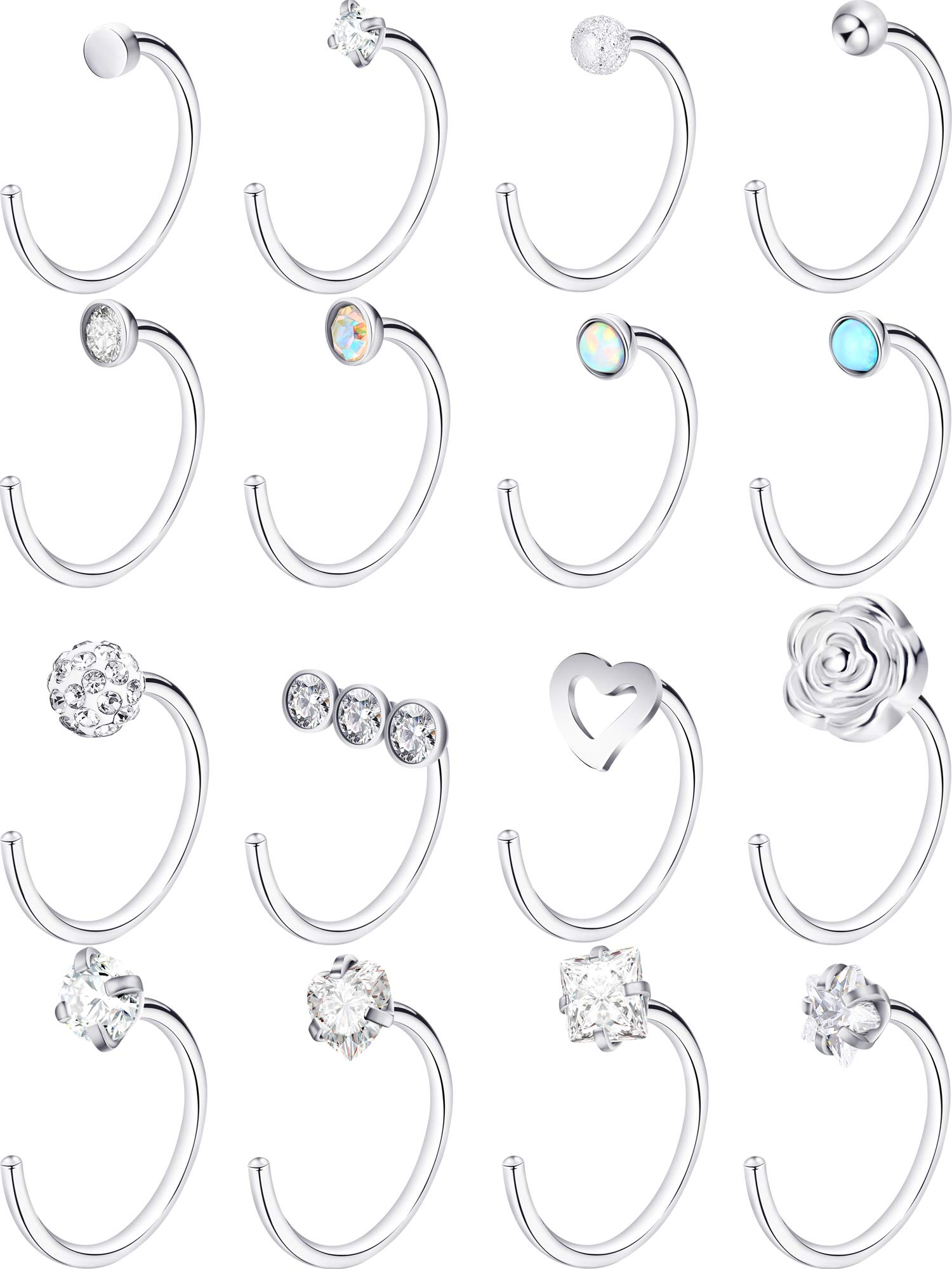 Jovitec Stainless Steel Nose Stud Set Steel Nose Ring Rose Ball Labret Body Piercing Jewelry for Party Wear or Clothes Matching, 20 G (16 Pieces, C Shape) by Jovitec