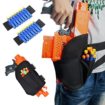 Junpro 1 PC Kids Tactical Waist Leg Holster Bag with 2 PCS Dart Wrister  bands Kits