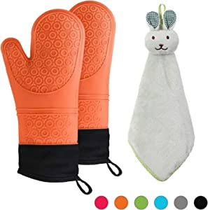 NA Heat Resistant 500°F Degrees Oven Mitts and Towel Kitchen (3-Piece Set), Extra Long with Waterproof Oven mitt, Safe Silicone Oven Mitts, Non-Slip Textured Grip Soft Inner Lining