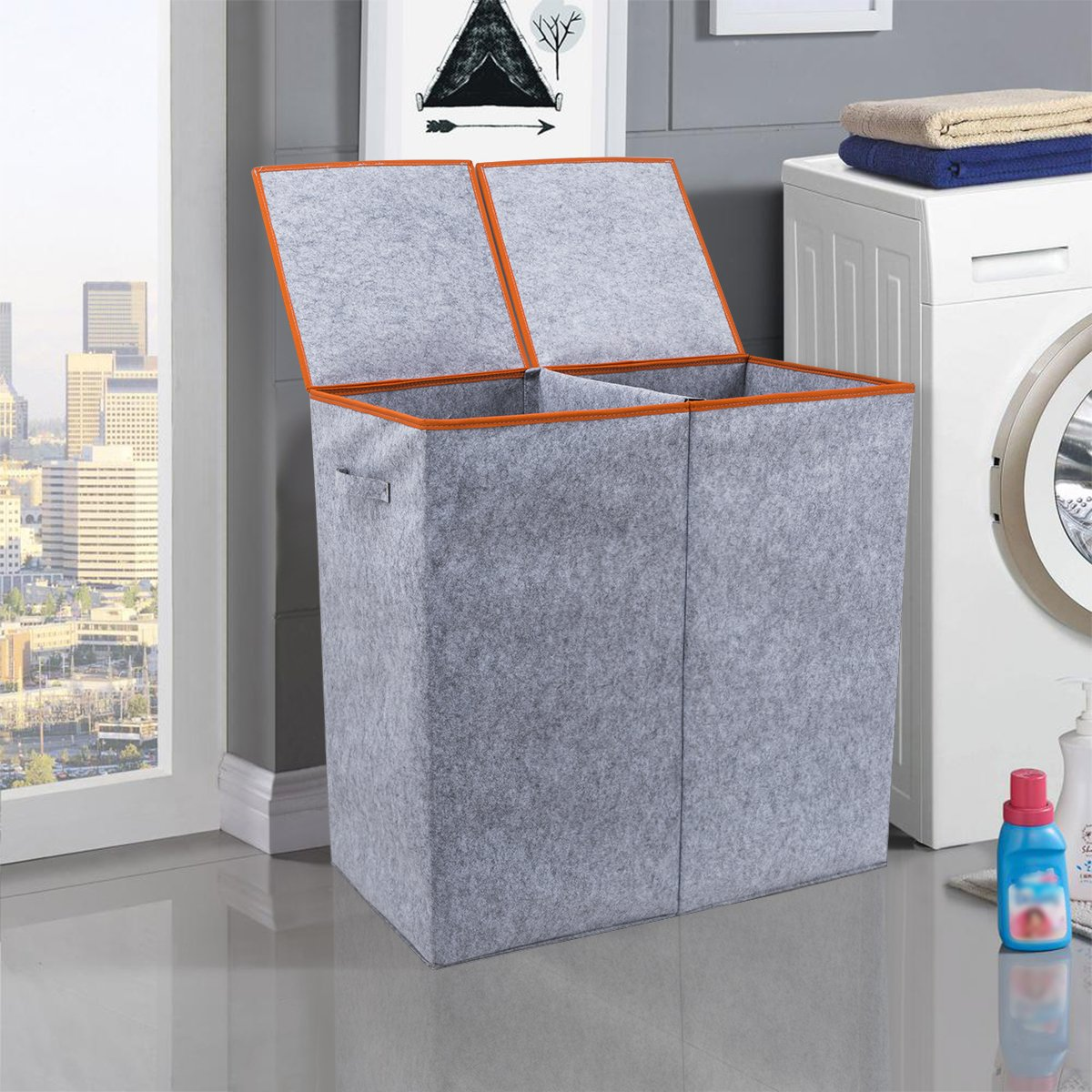 Chrislley Large Double Laundry Hamper with Lids Dirty Laundry Basket Collapsible Tall Home Laundry Hamper Sorter (Grey)
