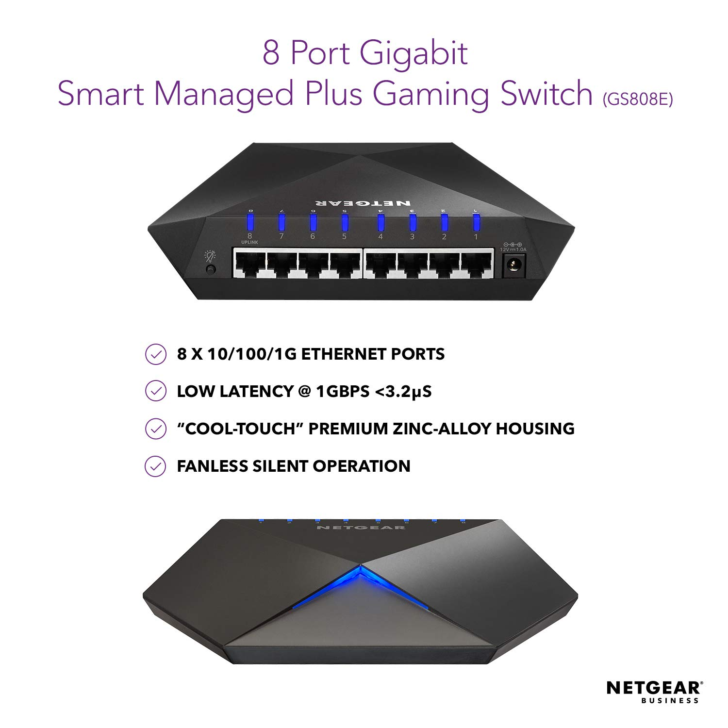 NETGEAR Nighthawk S8000 8-Port Gigabit Smart Managed Plus Gaming Switch  (GS808E) - Low Latency for Responsive Streaming, Cool-touch Zinc-alloy  Desktop