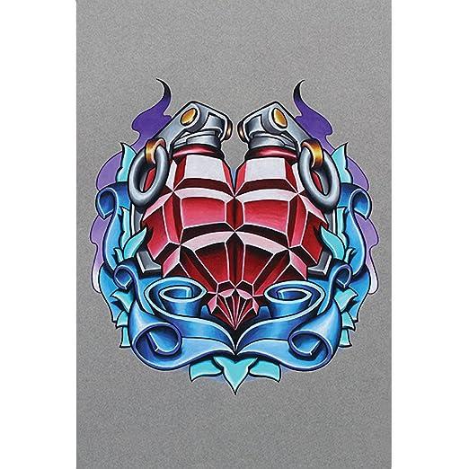 Corazón de granada tatuaje Arte por Jeremy Miller: Amazon.es: Hogar