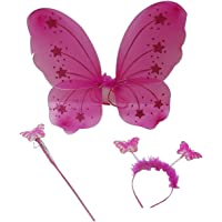 Royals Fairy Butterfly Wings Costume for Baby Girl Angel for Birthday Party (Dark Pink)