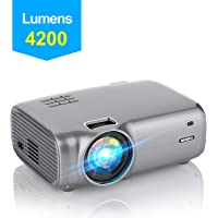 "Projector, WiMiUS Mini Portable Projector 4200 Lumen 1280*720P LED Video Projector 200"" LCD Home Cinema Projector Support 1080P Full HD HDMI/VGA/USB/AV, TV Stick, PS4 etc for Home Entertainment"