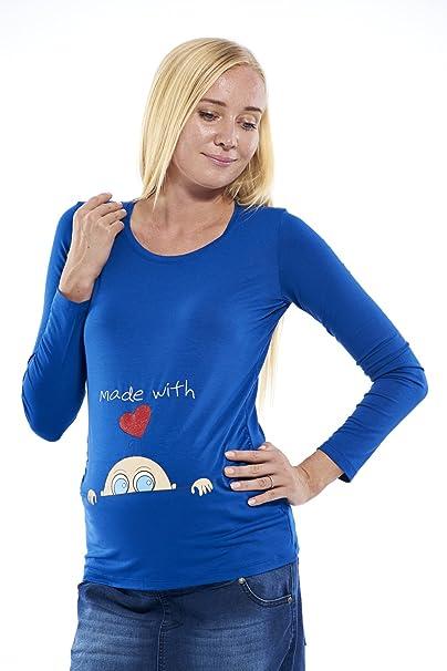 Mujer Manga Larga Ropa premamá Made with Love, Mode Camiseta para premamá Embarazada Mujer: Amazon.es: Ropa y accesorios