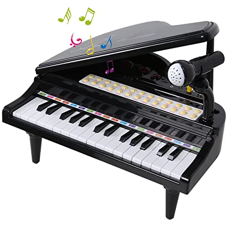 ANTAPRCIS 31 Keys Piano Toys for Girls, Electronic Keyboard Musical Toy Set  with Microphone Light and Song, Learn-to-Play for Kids Toddlers Singing