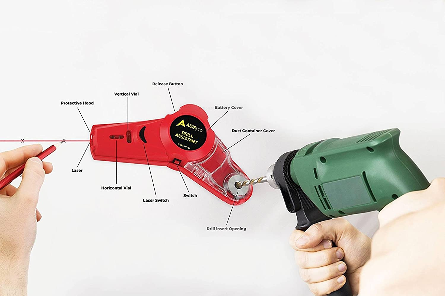 AdirPro Drill Buddy Cordless Dust Collector with Laser Level, Bubble ...