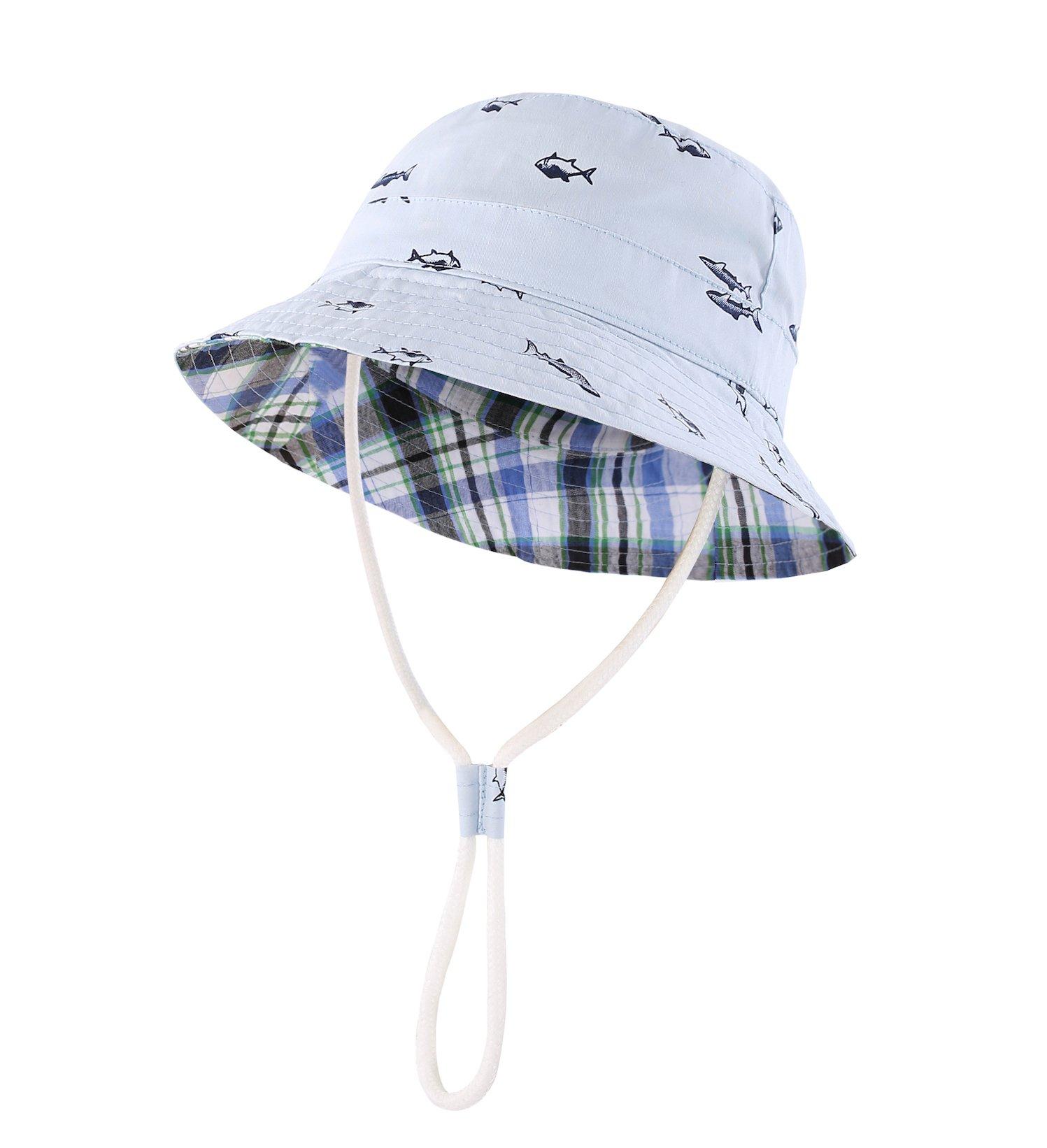 Home Prefer UPF 50+ Little Kids Safari Sun Hat Beach Bucket Hat for Boys Sun Protection Hat Fish Blue #52