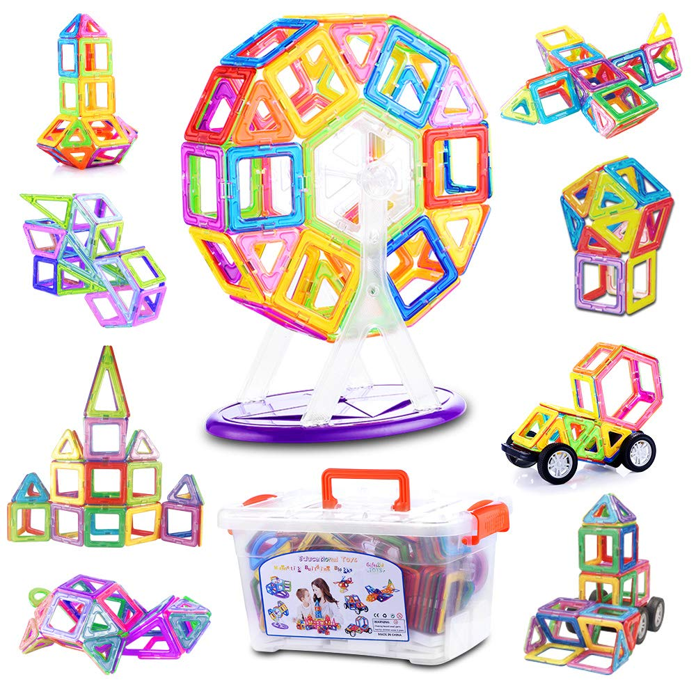 Magnetic Blocks, 148PCS 3D Magnetic Building Blocks Set for Kids Magnet Tiles with Storage Box, STEM Educational Toys for Boys and Girls by Gifts2U