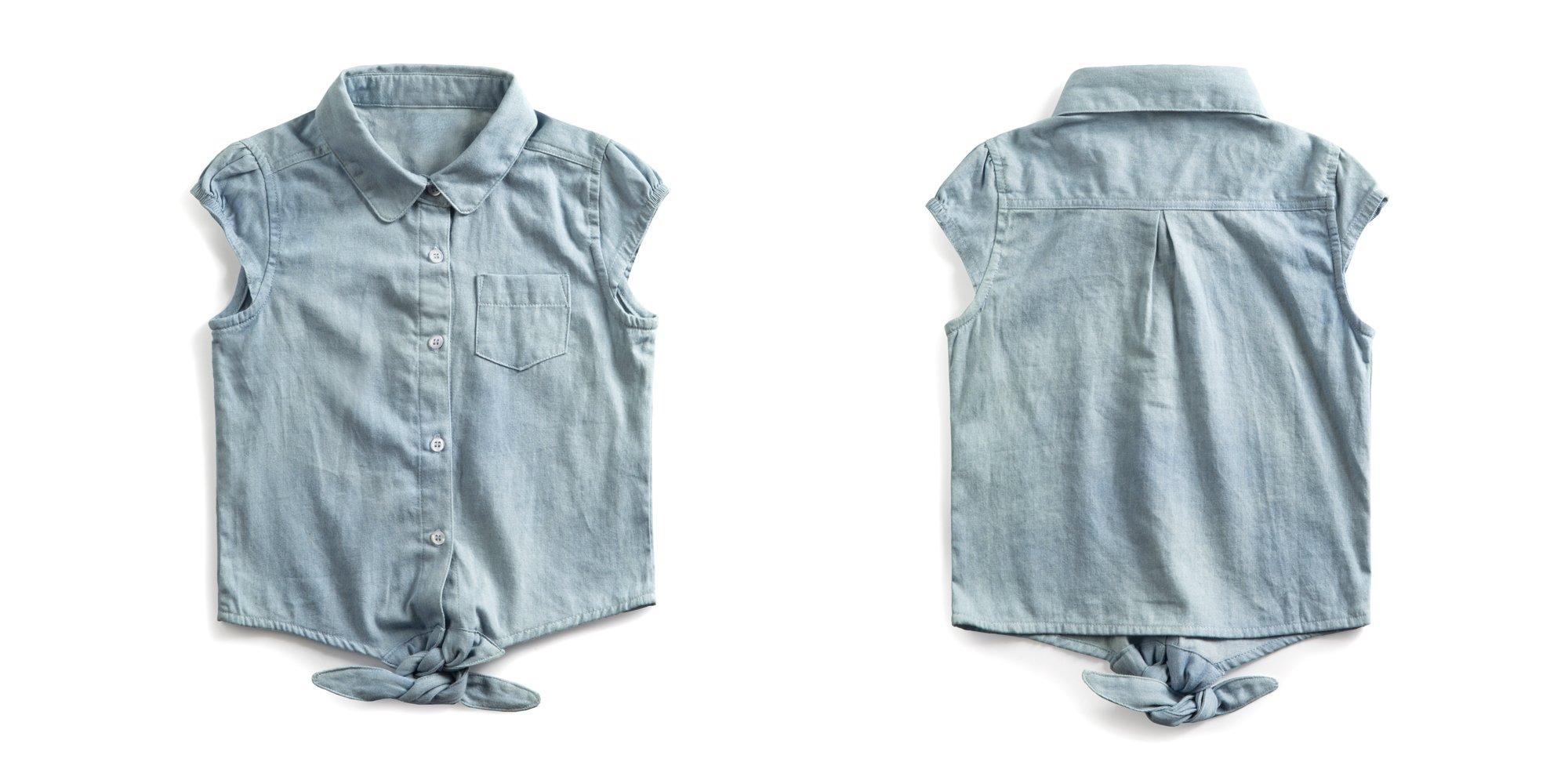 Firengato Girl's Cotton Casual Denim Button-up Shirt,2-8 Years (2 Years) by Firengato (Image #3)