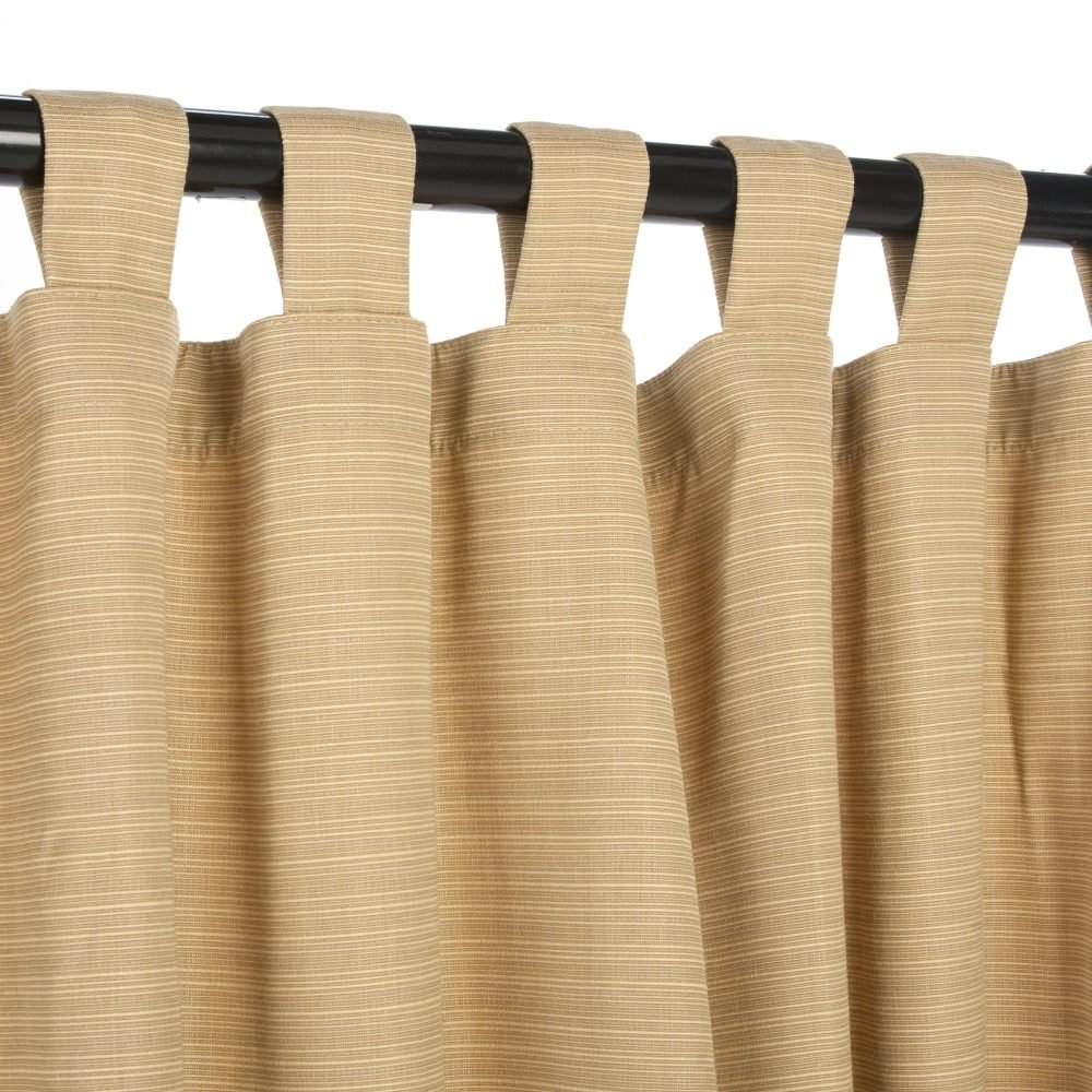 Sunbrella Outdoor Curtain with Tabs - Dupione Bamboo - 54 in X 120 in