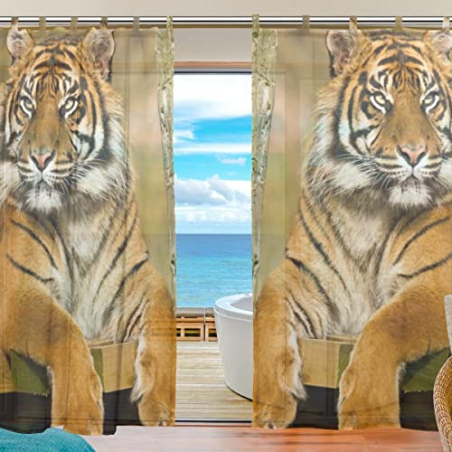 INGBAGS Bedroom Decor Living Room Decorations Tiger Pattern Print Tulle Polyester Door Window Gauze Sheer Curtain Drape Two Panels Set 55×78 inch,Set of 2