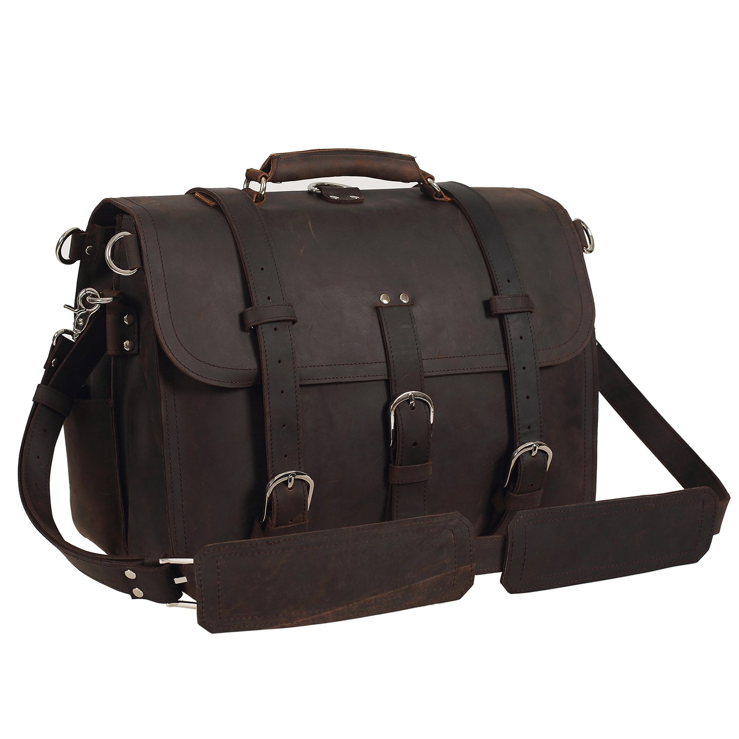 Texbo Men's Thick Cowhide Leather Shoulder Briefcase Fit 17'' Laptop Bag Tote
