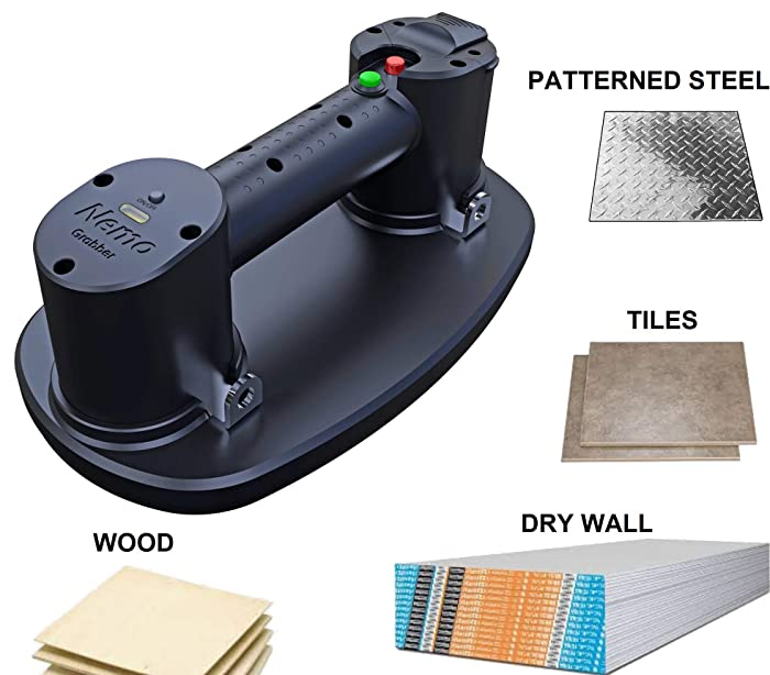 Grabo Electric Vacuum Suction Cup Lifter for Wood, Dry-Wall, Granit, Glass (Patterned or Smooth), Tiles. Glass Lifter 375lbs max Load, X2 Batteries