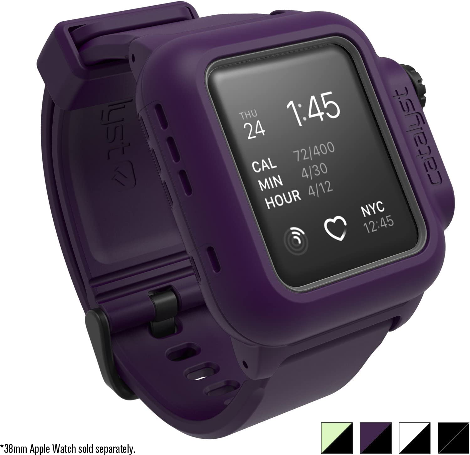 Apple Series 2 38mm Waterproof Watch Case by Catalyst, and Shock Proof Premium Material Quality for Hiking, Swimming, Beach Trips, Kayaking, Cruise Accessories (Deep Plum)