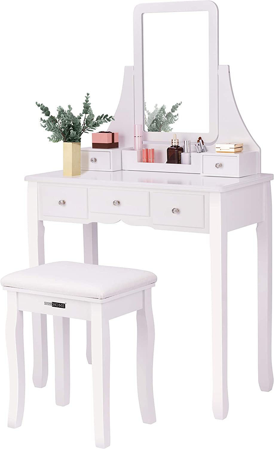 VIVOHOME Makeup Vanity Set with 5 Drawers and 1 Removable Organizer, Dressing Table with 360 Rotating Mirror and Cushioned Stool, White