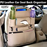 Coku Universal Back Seat Car Organizer Multi Pocket Storage with Document, Water, Bottle Tablet and Tissue Holder (Beige)
