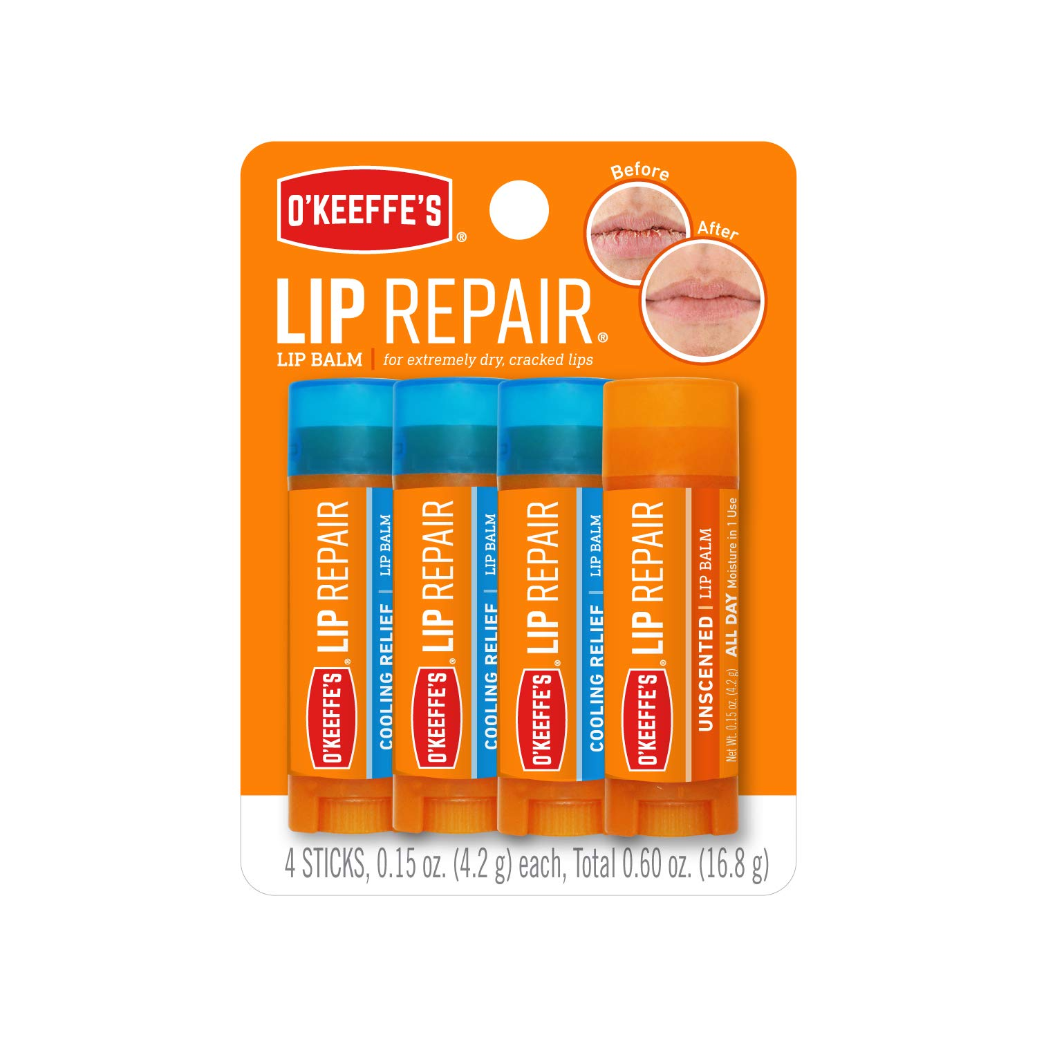 O'Keeffe's Lip Repair Lip Balm for Dry, Cracked Lips, Stick (Pack of 4: 3 Cooling + 1 Unscented)