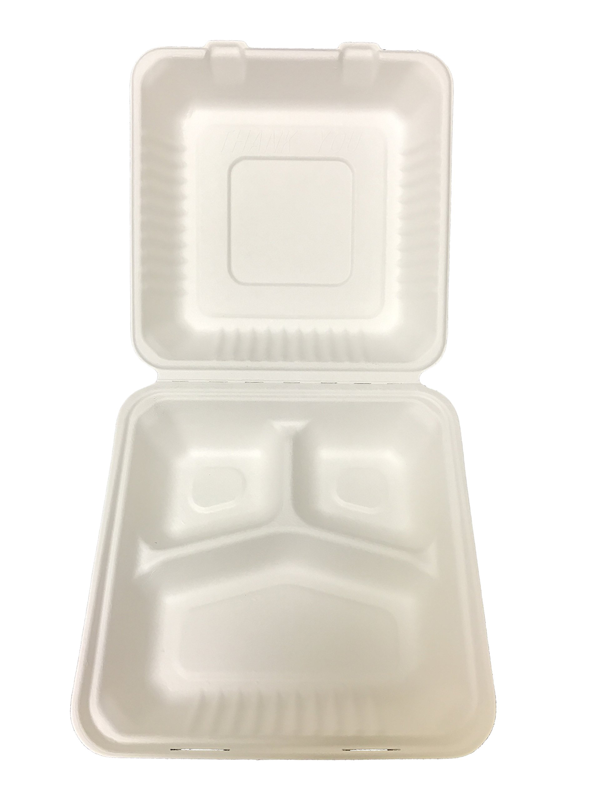 Primeware Bagasse Hinged Lid Container - Large 3-Section 9 x 3.19'' - 200/Cs (2 x 100), Not Applicable