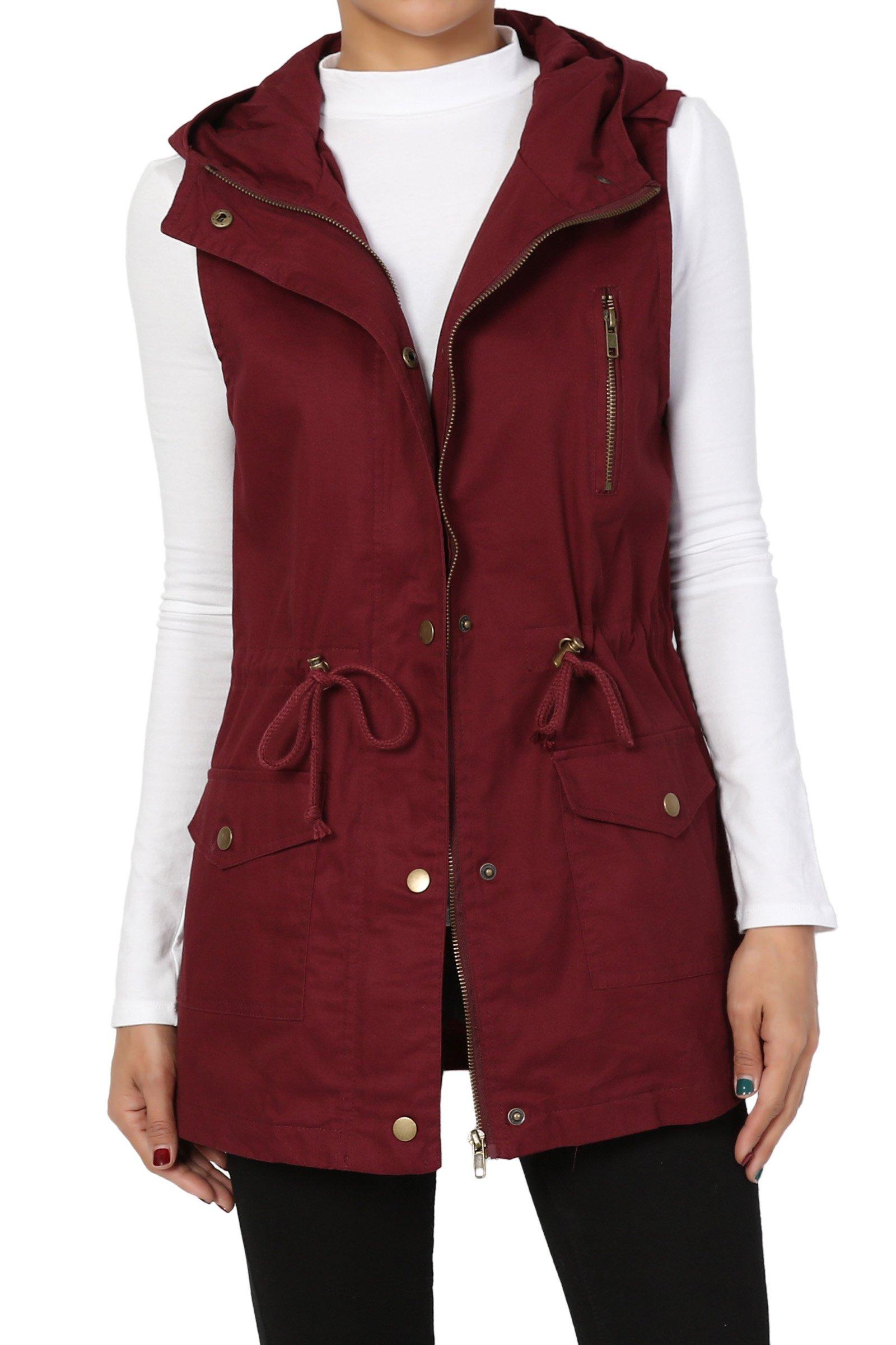 TheMogan Women's Hooded Anorak Drawstring Cotton Twill Utility Vest Dark Burgundy 1XL