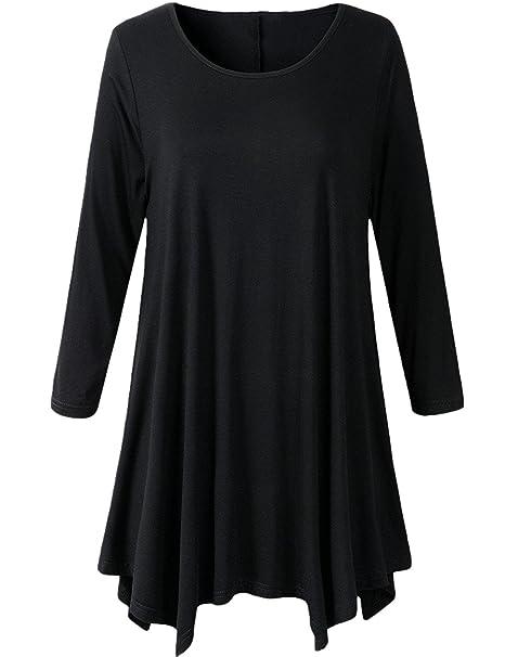 0b73e620800 Ecupper Women Plus Size 3 4 Sleeve Scoop Neck A-line Irregular Hem Loose