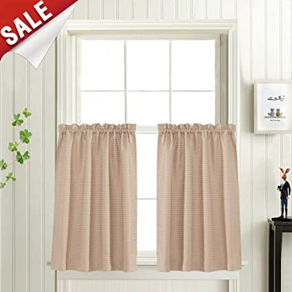36 Inch Tier Curtains Kitchen Window Treatment Waffle Weave Waterproof  Drapes Taupe