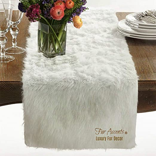 Amazon Com Soft White Shag Fur Table Runner Dresser Scarf Contemporary Decor Doily Wedding Decoration Christmas Decor Shaggy Sheepskin Faux Fur 5 Long