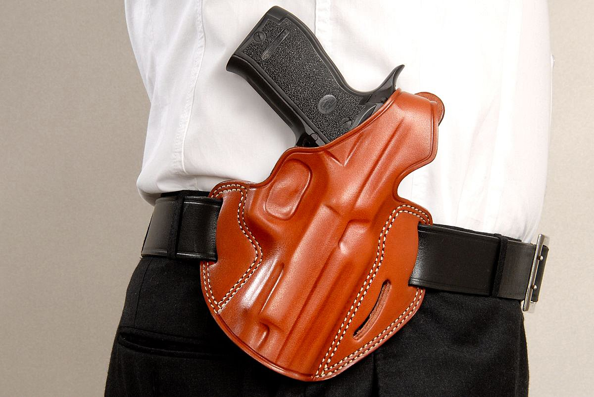 Leather Three Slot Pancake Holster (OWB) with Thumb Break for SAR ARMS, SAR  K2 45, 4 5''Barrel (Right Hand Draw)