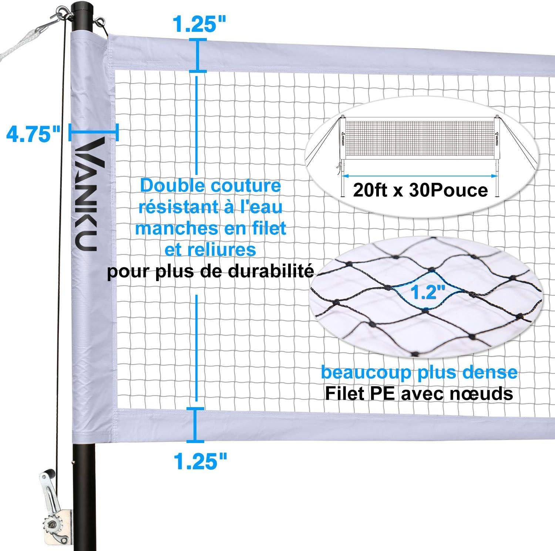 0.76M Filet de Badminton Portable Exterieur,Ensemble de Filet de Badminton avec 2 Badmintons et 4 Raquettes de Badminton pour Les Sports Int/érieurs ou Ext/érieurs L/ég/ère Pliable Vanku 6.09M