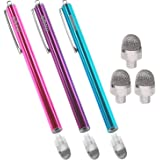 aibow タッチペン スマートフォン タブレット スタイラスペン iPad iPhone Android 3本+ペン先3個 8mm (ピンク+ライトブルー+パープル)