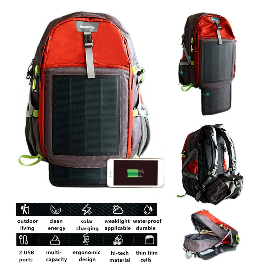 77ab481ed379 Hanergy Hiking Solar Backpack 10.6W with 2 Flexible Solar Panels ...