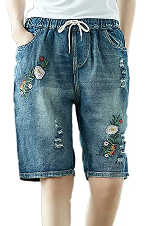f2712c132e Simgahuva Womens Relaxed Denim Bermuda Short Elastic Floral Knee Length  Pants  Amazon.co.uk  Clothing