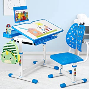 BackH Kids Desk and Chair Set, Height Adjustable Children Study Desk for School or Home, Tilt Desktop, Ergonomic Chair Back, Eye and Spine Protect, with Bookstand, Pull Out Drawers Storage