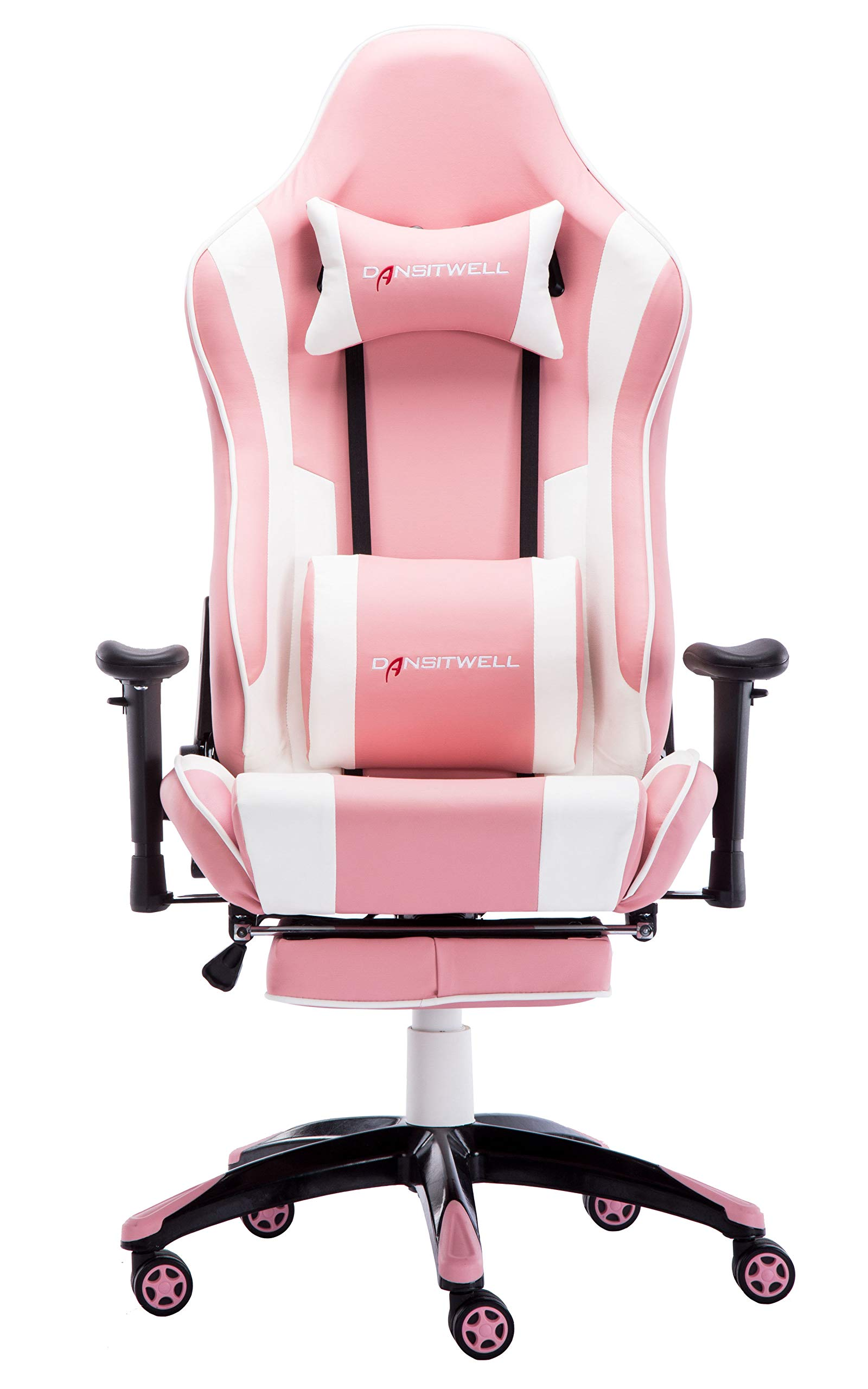 DANSITWELL Gaming Chairs for Adults, Ergonomic Adjustable Racing Chair with Footrest High Back Computer Chair with Headrest and Massage Lumbar Support (Pink) by DANSITWELL