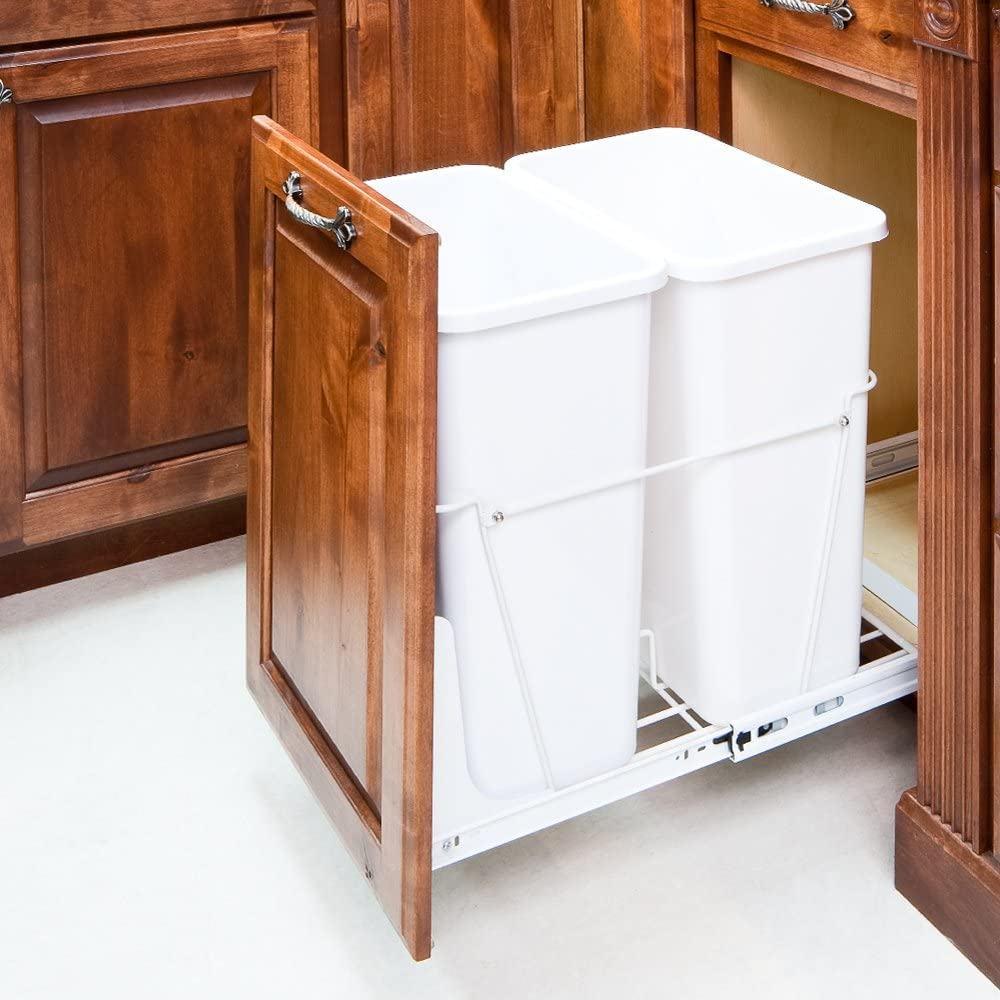 Double-White 35 Quart-Trash// Waste Container System w// 2 white cans//NO DOORKIT