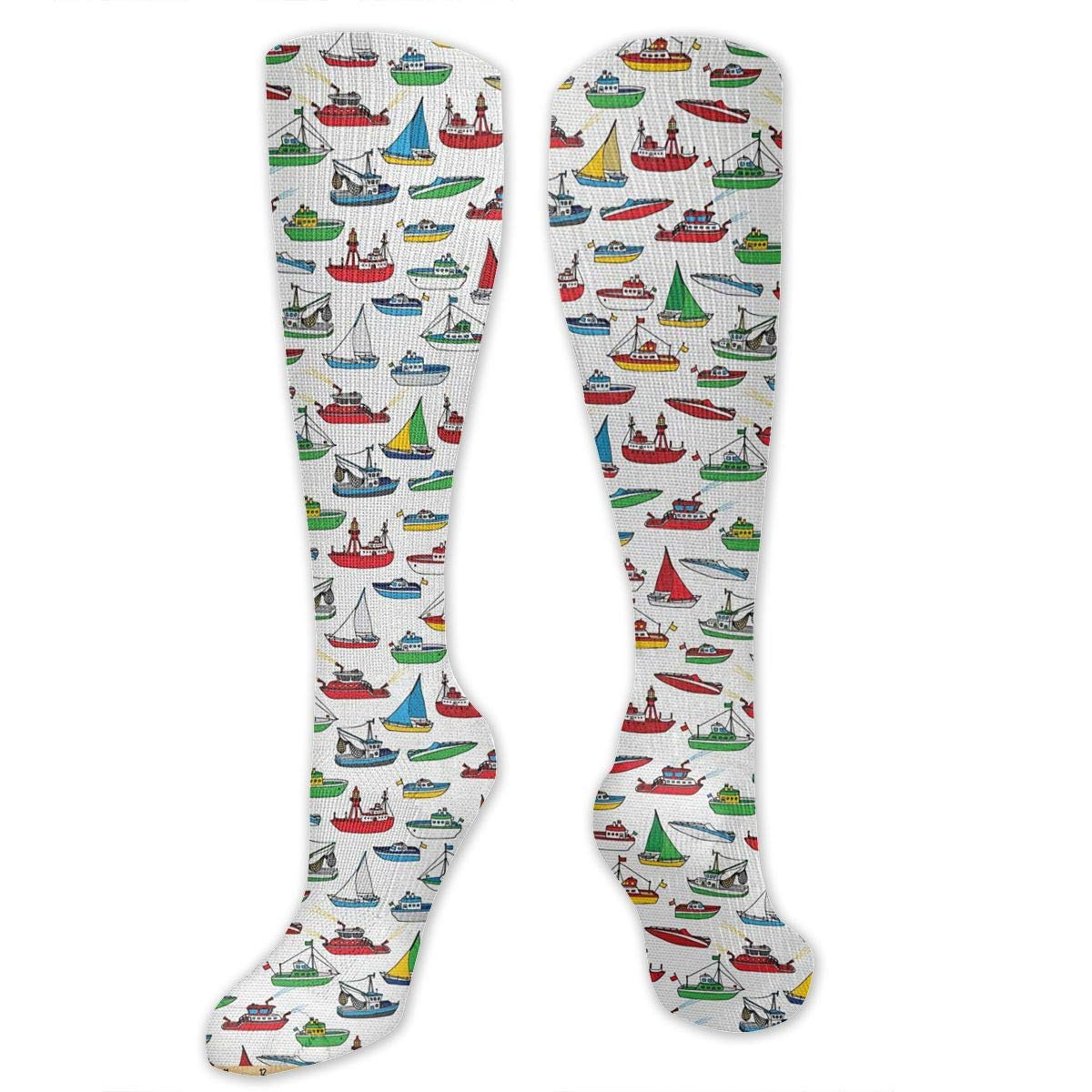 Chanwazibibiliu Bunch of Colorful Vessel Speedboat Mens Colorful Dress Socks Funky Men Multicolored Pattern Fashionable Fun Crew Cotton Socks