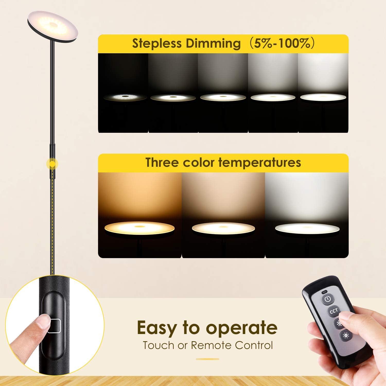 Albrillo LED Deckenfluter Stehlampe - Stufenlos Dimmbar Stehleuchte mit 3 Farbtemperaturen, Touch & Remote Control, Modern Standleuchte für Wohnzimmer, Schlafzimmer und Büro, Super Hell 20W, Weiß Schwarz