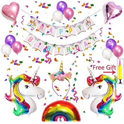 Unicorn Birthday Party SuppliesBagvhandbagro DecorationsParty Supplies Kit With Glitter Headband