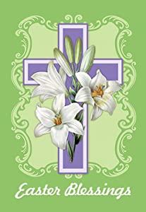 """Morigins - Easter White Lilies Double-Sided Decorative Cross Religious Garden Flag 12.5""""x18"""""""