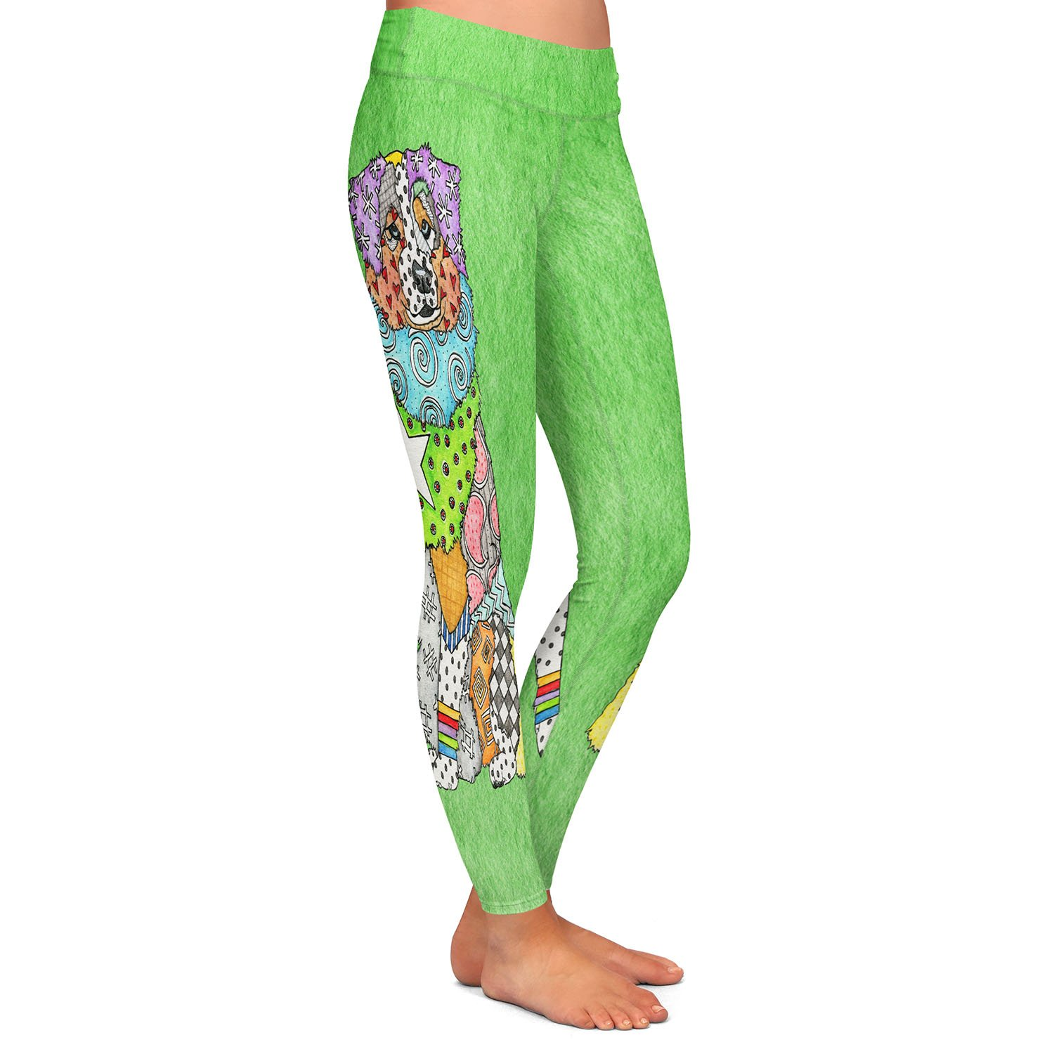 Athletic Yoga Leggings from DiaNoche Designs by Marley Ungaro Australian Shepherd Green
