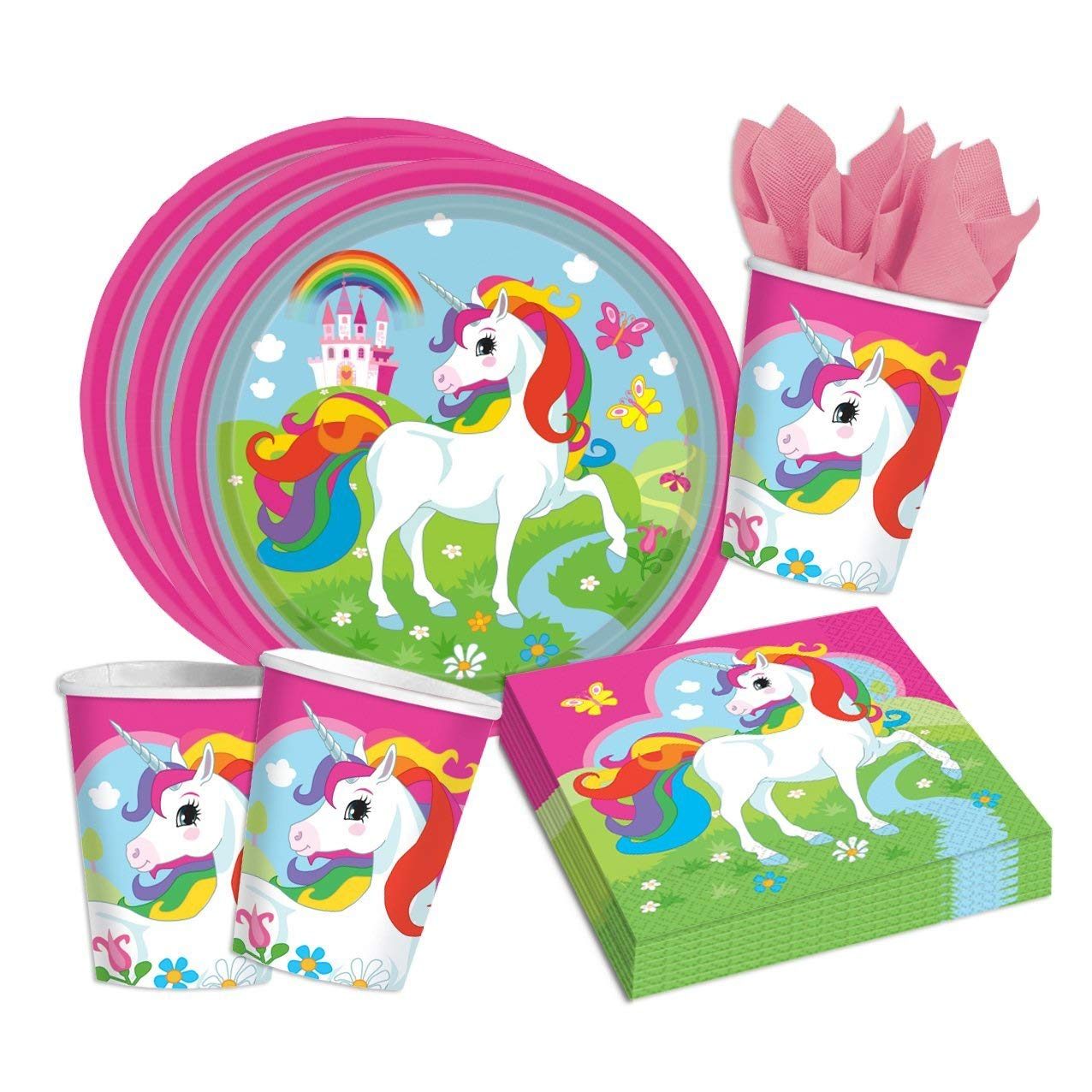 52 piece party set Unicorn (Amscan) - Unicorn - Plate Mug Serviettes for 16 children