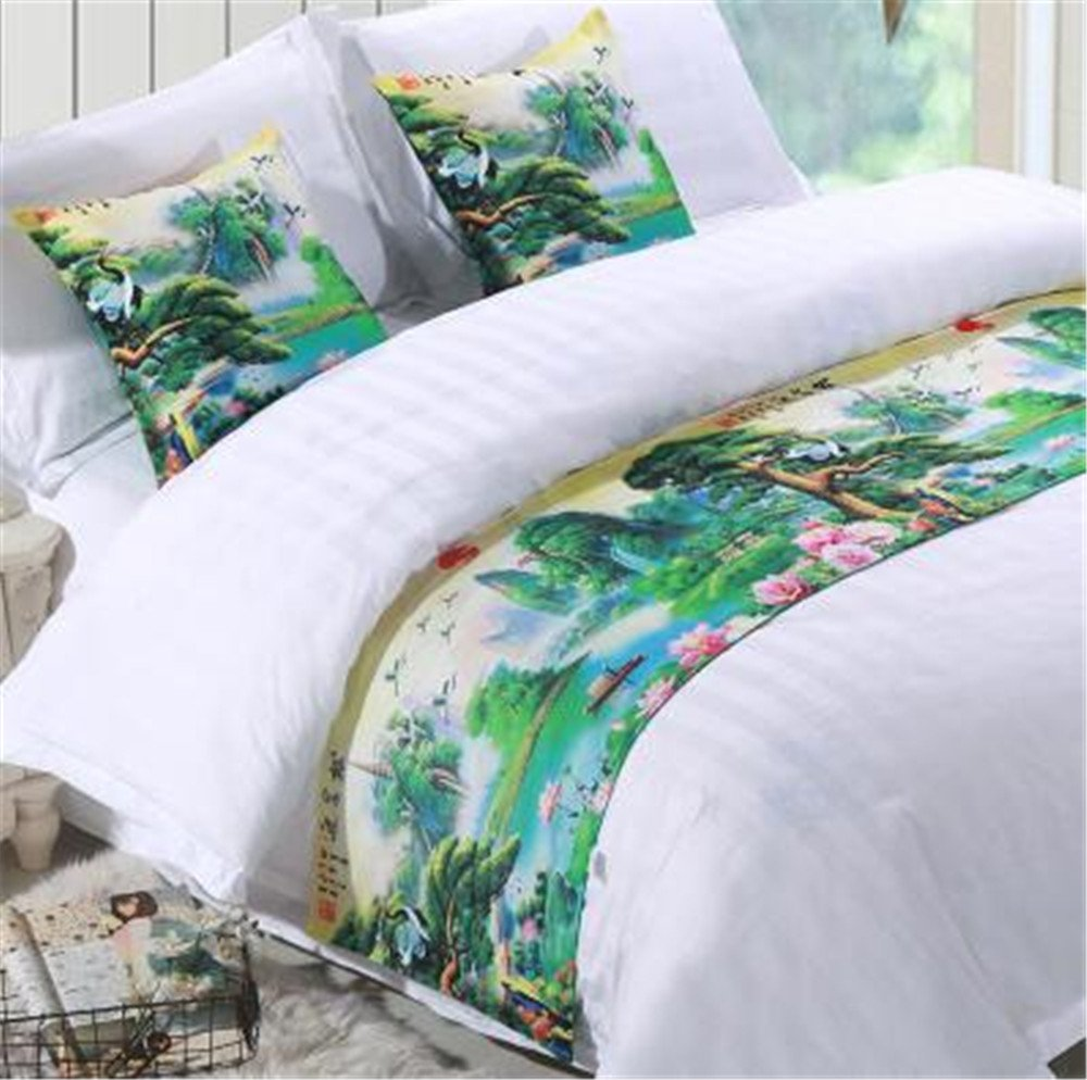 YIH Bed Runner With Cushion Cover 3 Pcs Set Scenery Of Hills And Waters, Luxury Hotel Wedding Room Bedroom Decorative Bed End Scarf Protector Slipcover Pad For Pets, 62 Inches By 19 Inches