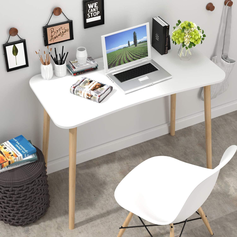 Homfa Scrivanie Ufficio Tavolo PC Tavolino da Studio Postazioni di Lavoro Tavolo da Pranzo in MDF e bamb/ù Bianco 75 x 50 x 100 cm